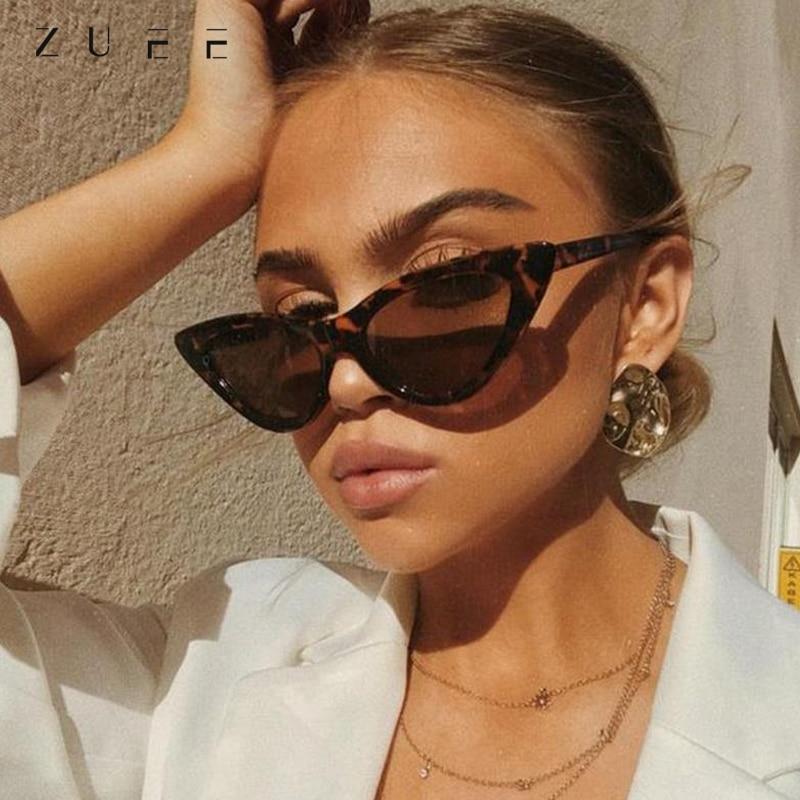 ZUEE Cat Eye Sunglasses Retro Fashion Mirror Sunglasses Women Plastic Frame Classic Sun glasses Ladi