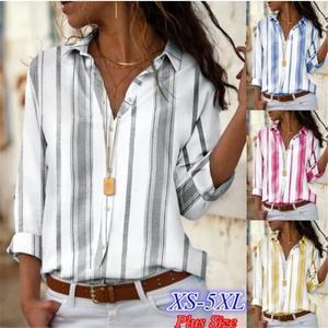 Zogaa Women Blouses Business Female Turn Down Collar Striped Solid Women Casual Slim-fit Shirts Streetwear Summer Fashion Tops