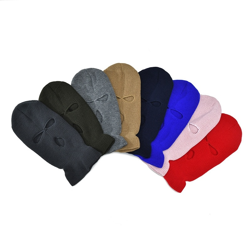 Wzcx 13 cores balaclava máscara chapéu tampas de halloween para festa motocicleta bicicleta ciclismo hip hop cs inverno três 3 buraco chapéu malha