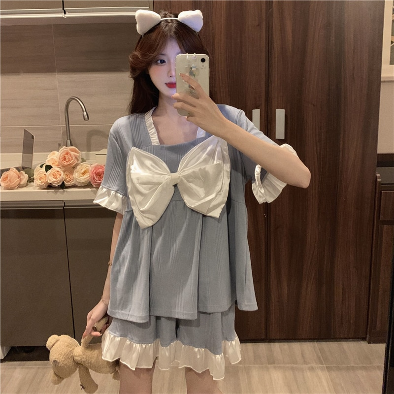 Pajamas Women's Summer 2021 New Thin Suit Short Sleeve Lovely Butterfly Net Home Clothes Two Piece S