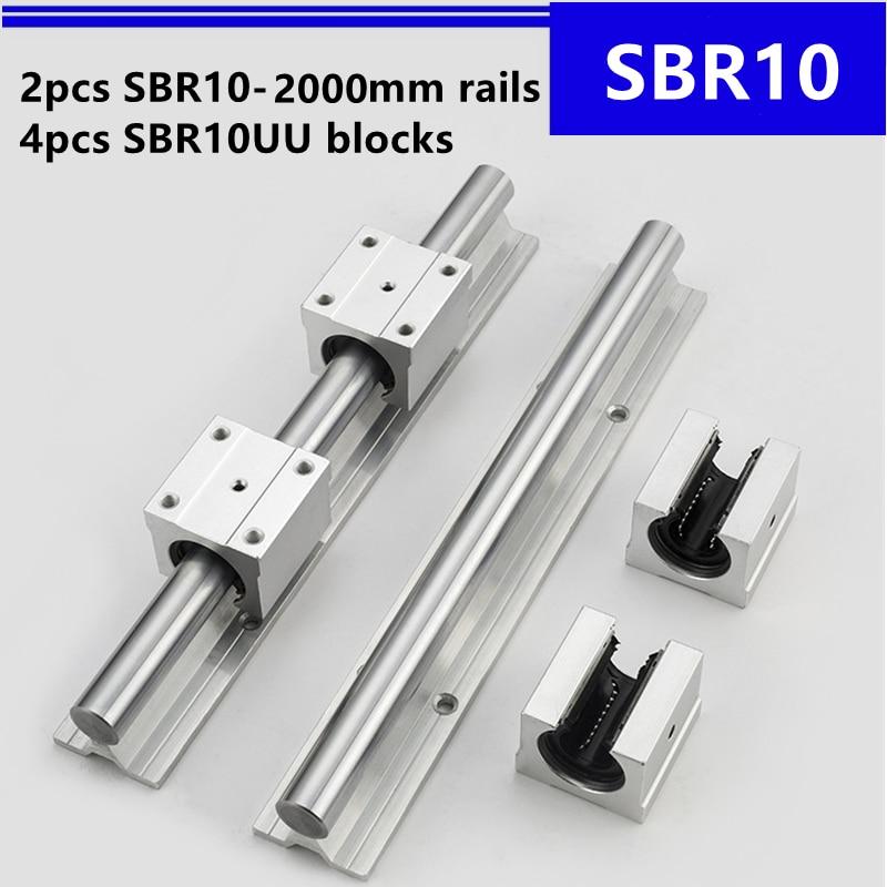 2 قطعة SBR10 -2000 مللي متر دليل خطي دعم السكك الحديدية و 4 قطعة SBR10UU كتل الخطي ل قطع غيار جهاز التوجيه باستخدام الحاسب الآلي