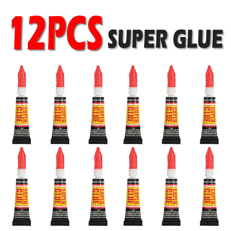 12pcs Liquid Super Glue Wood Rubber Metal Glass Cyanoacrylate Adhesive Stationery Store Nail Gel 502 Instant Strong Bond Leather