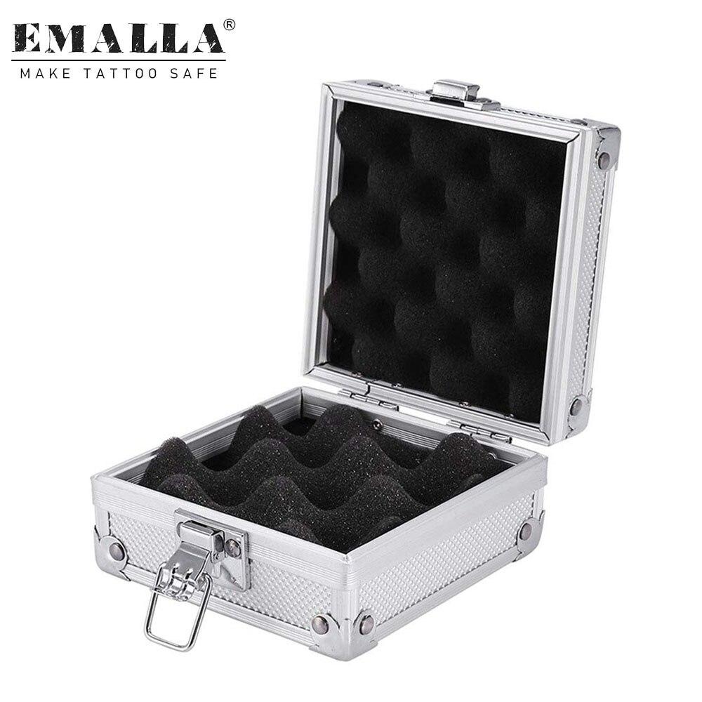 EMALLA 1 Uds. Máquina de tatuaje, funda de pistola de aleación de aluminio, organizador de máquina de tatuaje, caja de embalaje con cerradura, accesorios para tatuajes