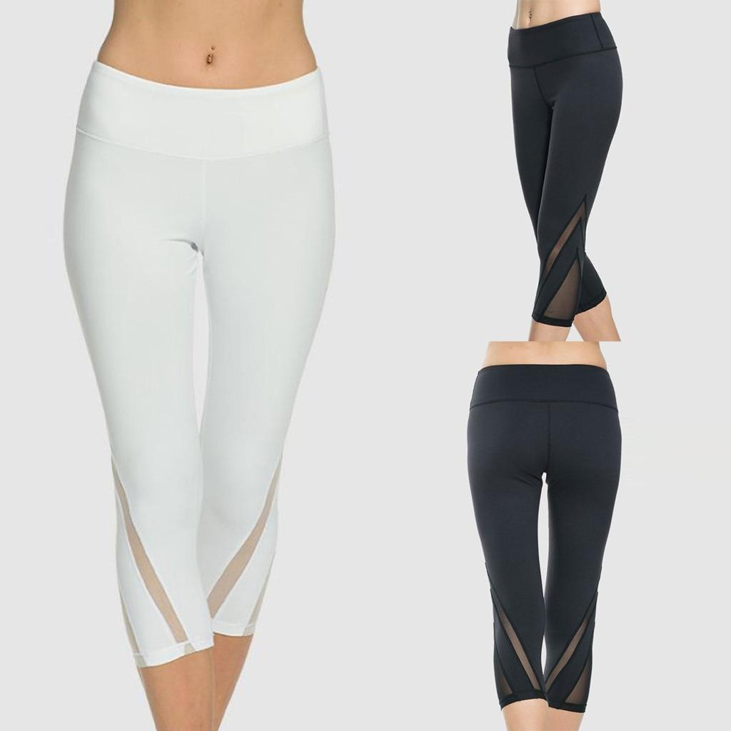 Leggings aptitud femenina camiseta hueco alta cintura cadera-Pantalones de deporte de ocio corriendo siete minutos pantalones Colants Femme Plus