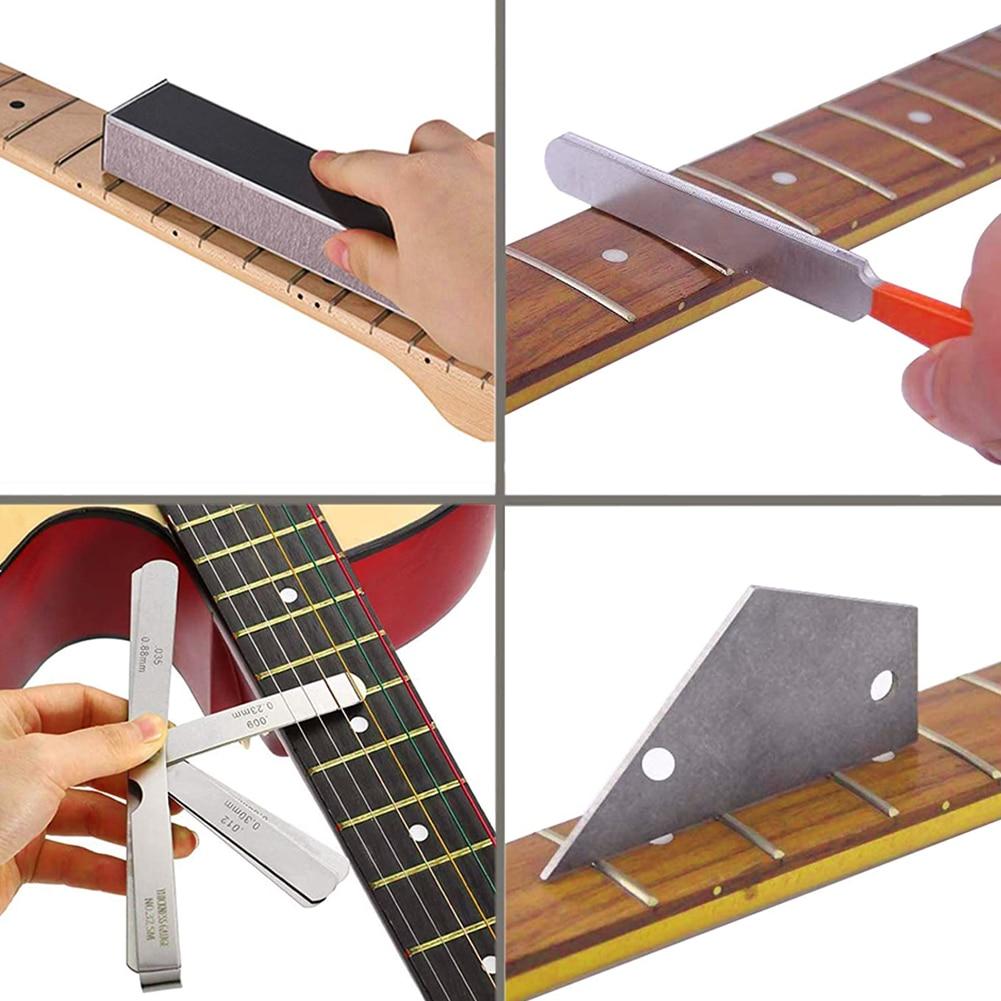 28 Pcs Guitar Luthier Tool Set Fret Crowning File Guitar Filetring Action Ruler Gauge Feeler Rocker Fingerboard Guard String enlarge