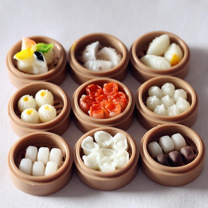 Миниатюрные миниатюрные кукольные домики, китайская еда, паровые булочки Dim Sum, корзина, поставка кукольного домика, ролевая еда для кукольн...