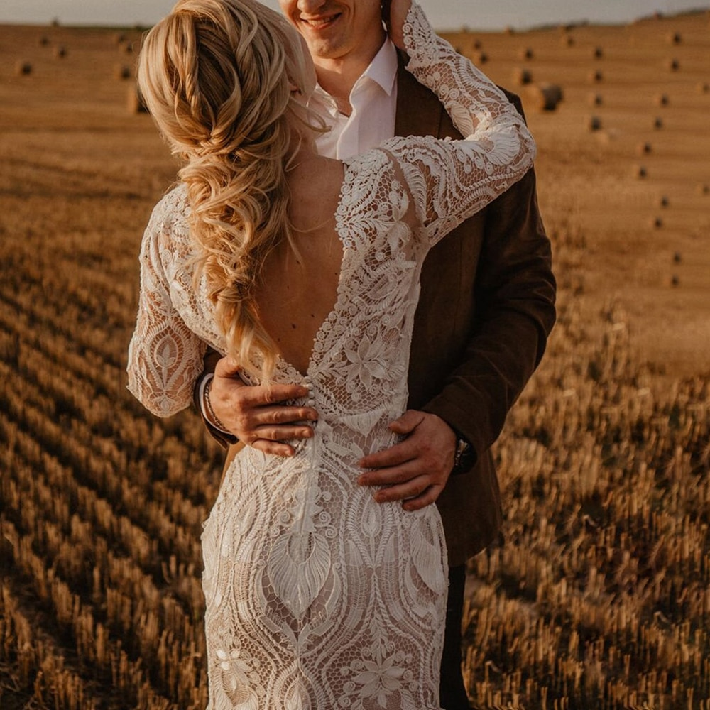 Long Sleeves Lace Country Wedding Dress Backless Vintage Beach Barn Ranch Plus Size Custom Made 2021 Mermaid Rustic Bride Gown