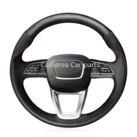 for audi q7 2016 2017 hand sewn steering wheel cover black artificial leather