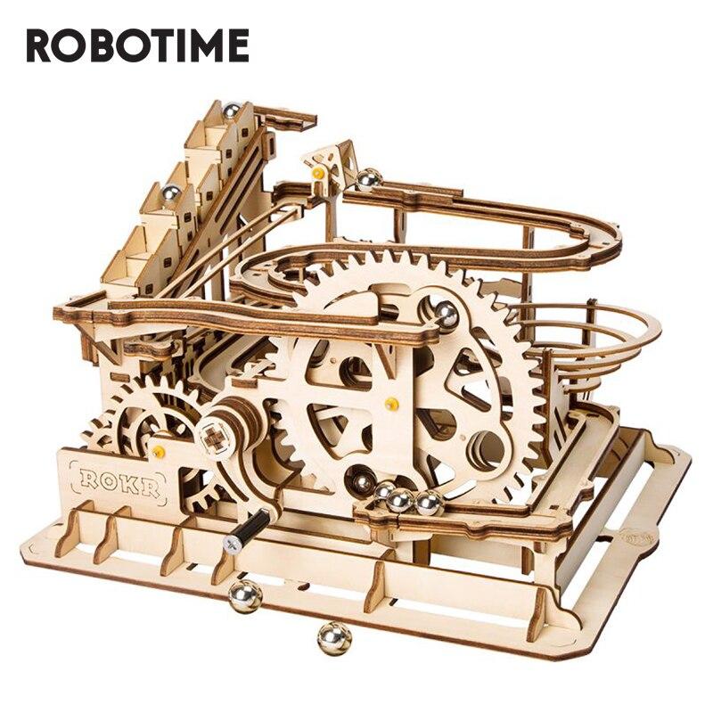 Robotime ROKR DIY Marble Run Blocks Game 3D Wooden Puzzle Waterwheel Coaster Model Building Kit Toys for Children LG501
