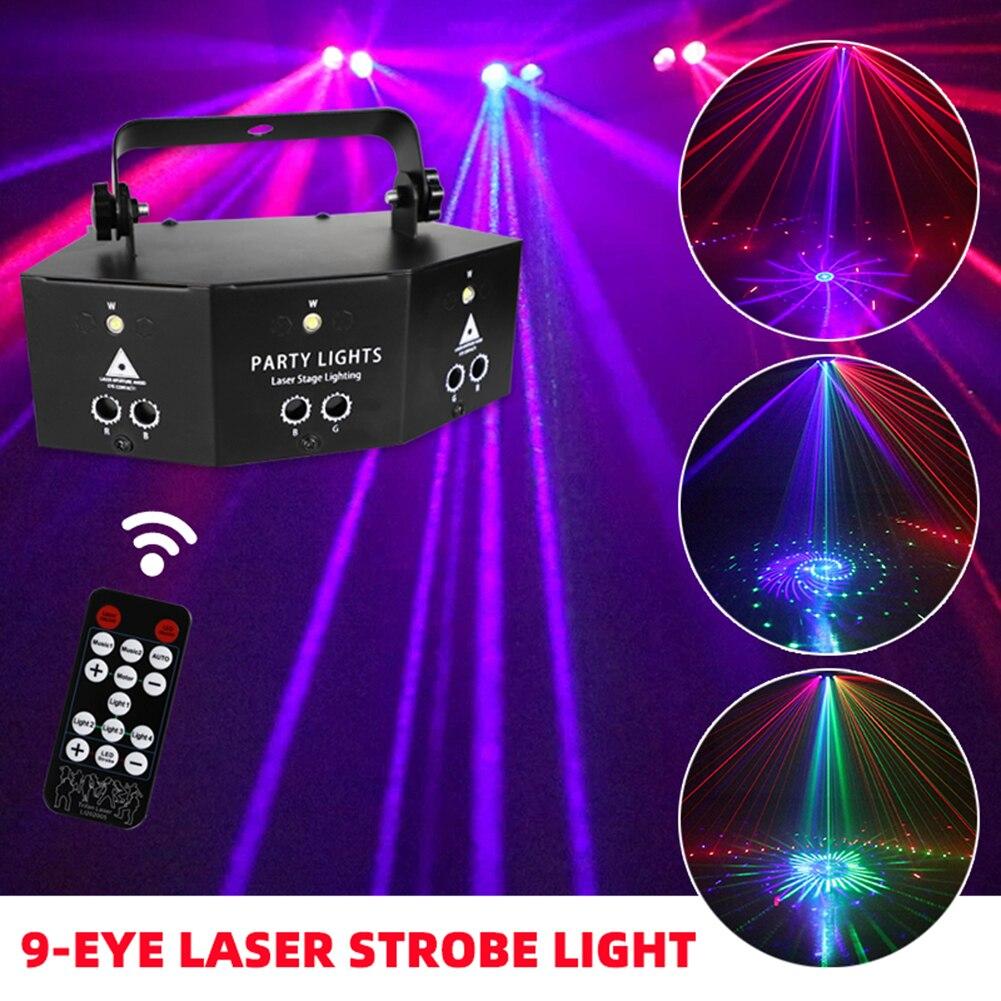 Лампа с лазерным проектором DMX, стробоскоп с 9 глазами и дистанционным управлением, RGB ночсветильник светильник жектор для дискотеки, KTV, клуба, сценической вечеринки