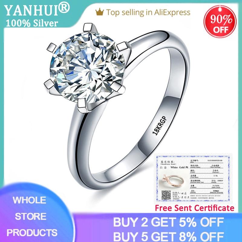 With Certificate Luxury 18K White Gold Ring Original 2.0ct Zirconia Diamond Wedding Band Silver 925 Jewelry To Women Love Gift