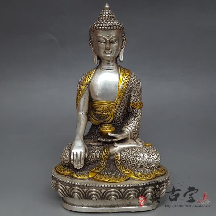 Plata dorada del Tíbet Shakyamuni dragón estatua de Buddha Amitabha arte de cobre blanco escultura regalos decoración casera afortunada