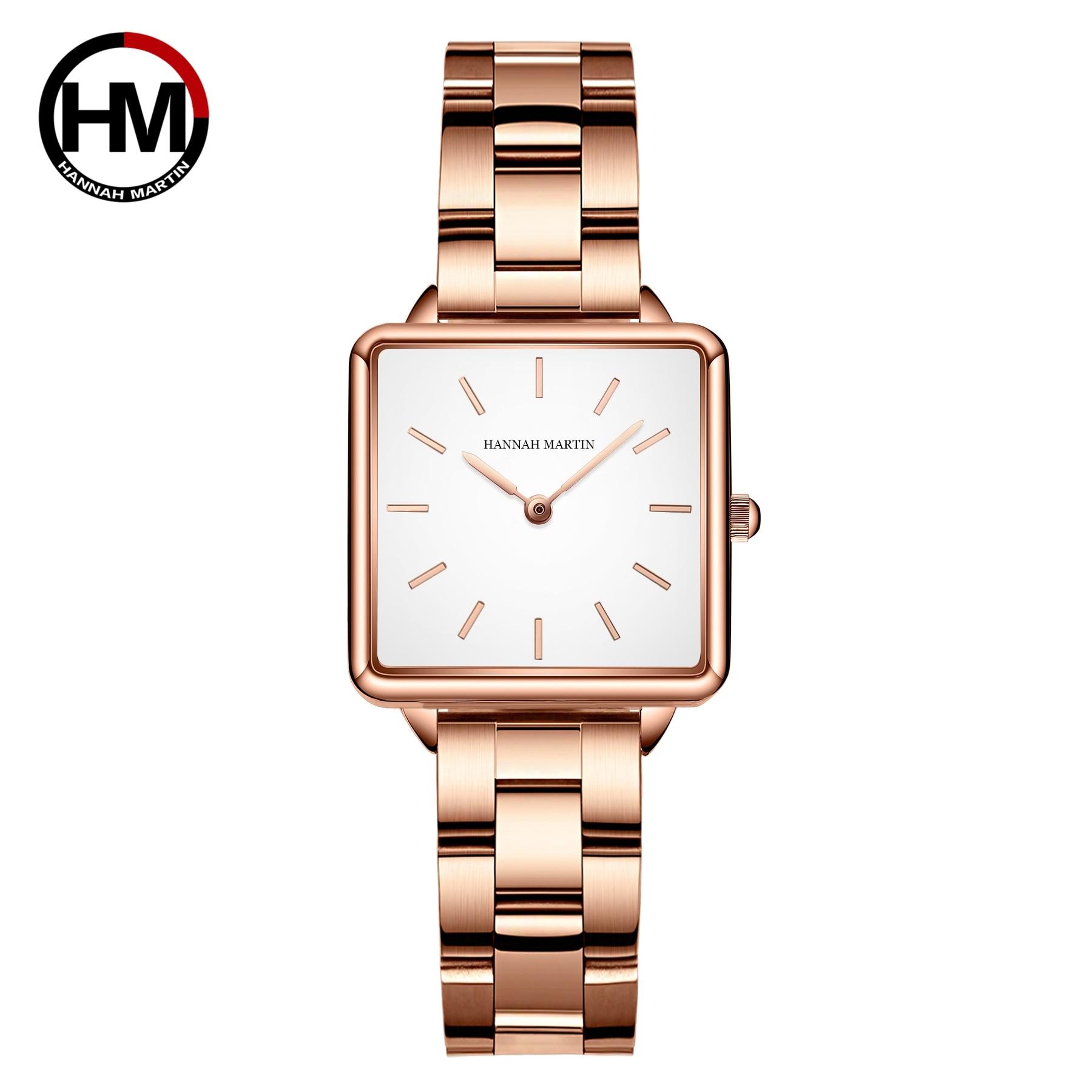 ساعة يد نسائية مربعة ، ساعة يد من الذهب الوردي ، ماركة غير رسمية ، عصرية ، فاخرة