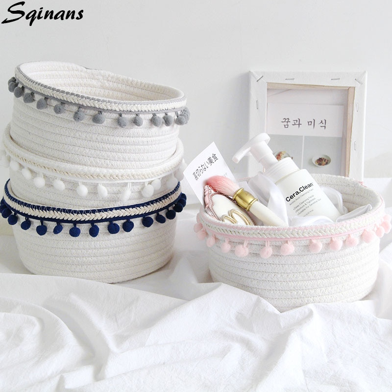 Hand-knitted Nordic Linen Foldable Toy Storage Basket Office Desk Organizer Home Organization Laundry Basket Cosmetic Organizer