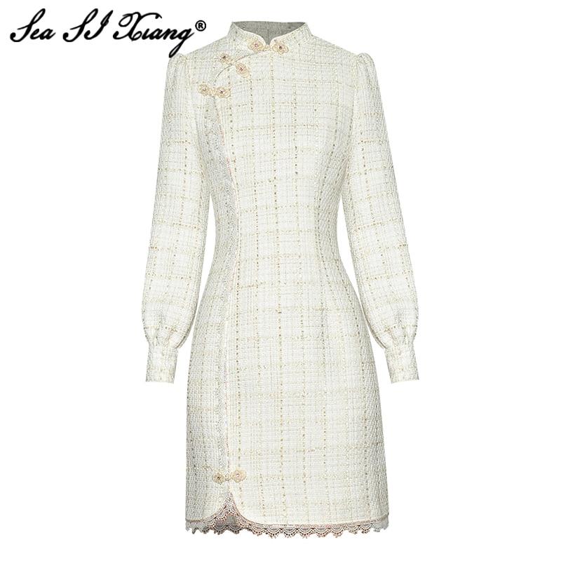 فستان نسائي خريفي أنيق من Seasixiang بأكمام طويلة مطرز بالخرز على الطراز الصيني