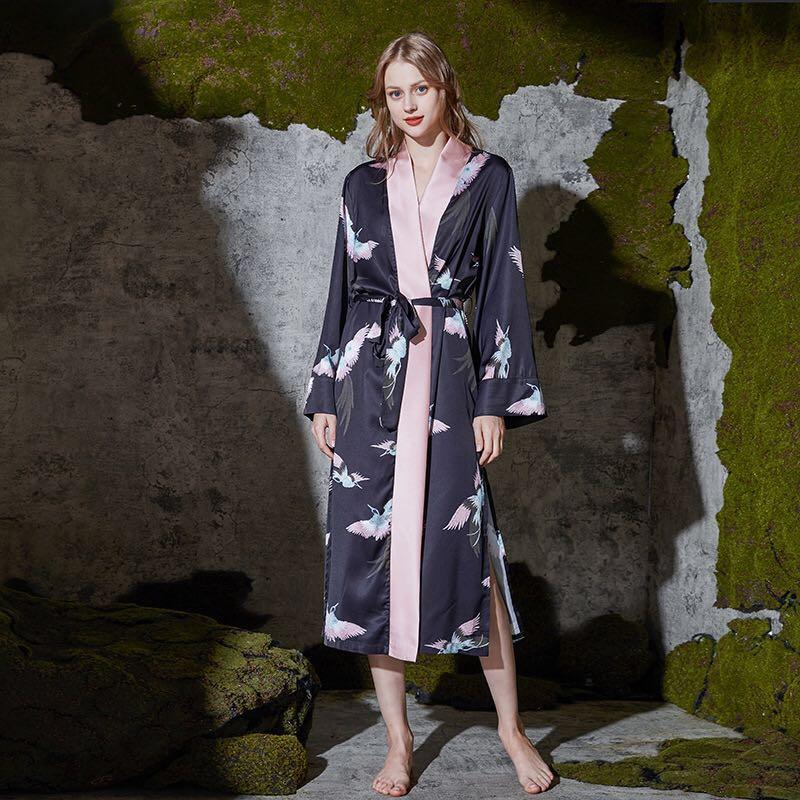 Été femmes soie peignoir Satin Pygamas femme Kimono Robe vêtements de nuit Sexy Robes parfaites Robes de chambre femmes Robes de mariée