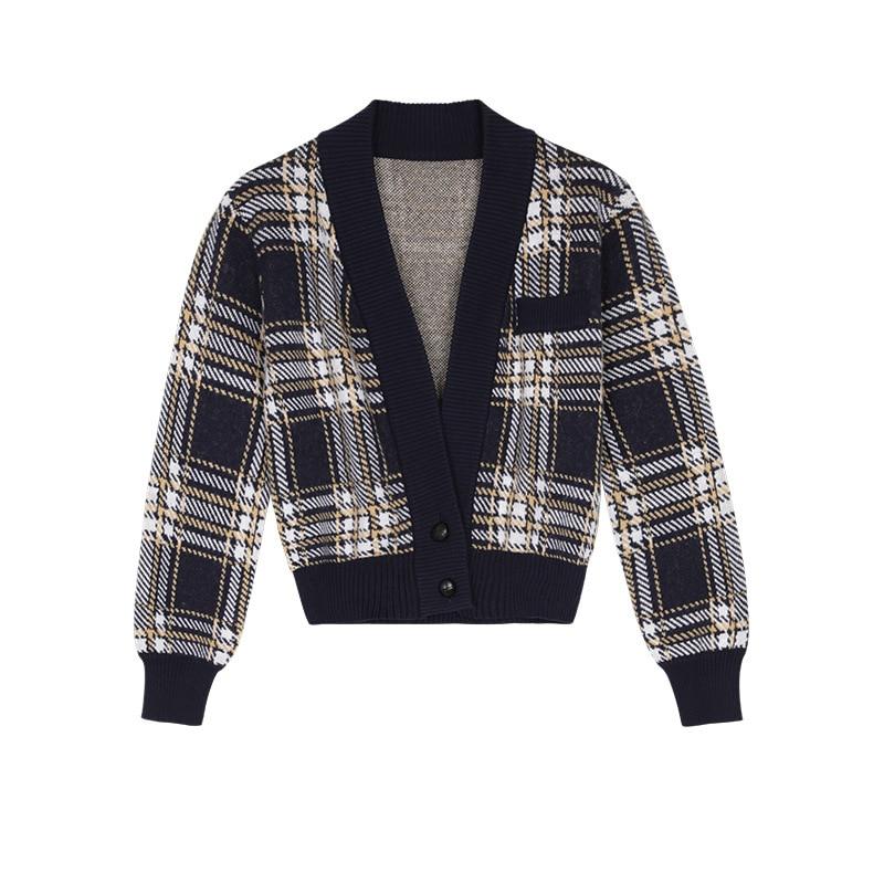 Womens Loose Fit Knitted Cardigan Sweater Lantern Sle Big V Neck vintage Plaid Contrast Color Single-Breasted Loose Cardigan Coa enlarge
