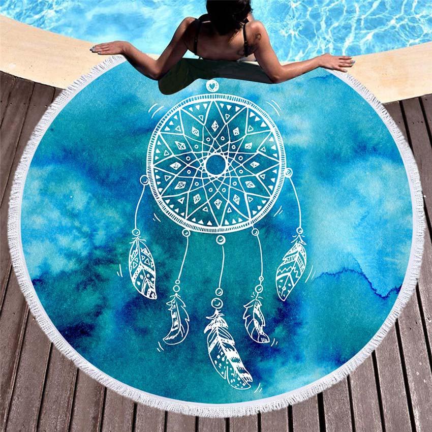 Verano 150cm Toalla de playa redonda atrapasueños de plumas baño deporte alfombra de toalla manta Bikini cubrir