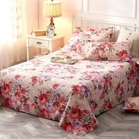 2020 new flower cotton bed sheet 1 pcs and pillowcase 2 pcs for adults pink red bed sets 3 pcs