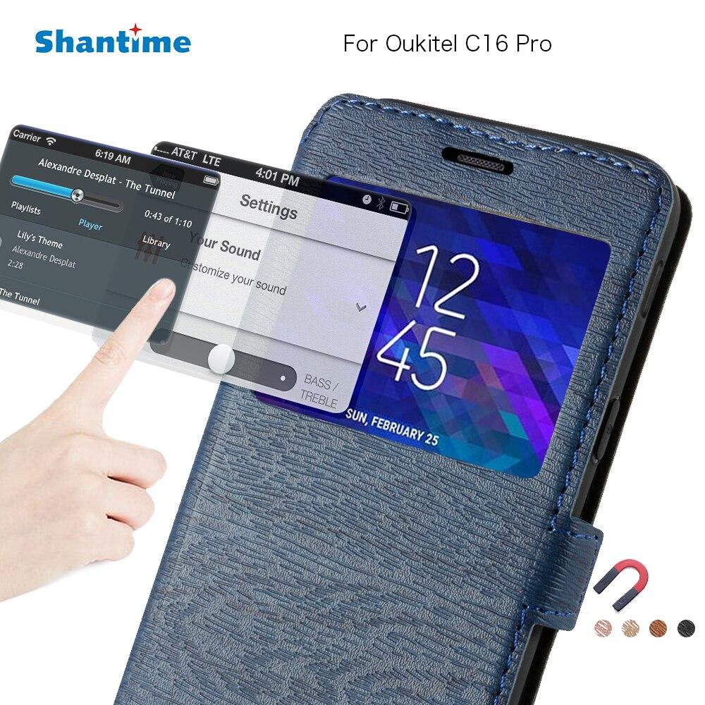 Funda de teléfono de cuero de poliuretano para Oukitel C16 Pro Flip caso para Oukitel C16 ver Libro ventana caso suave de silicona TPU cubierta