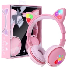 With box, 7.1 Stereo Cute Cat Bluetooth Wireless Headphone With Microphone Flashing light Earphone M