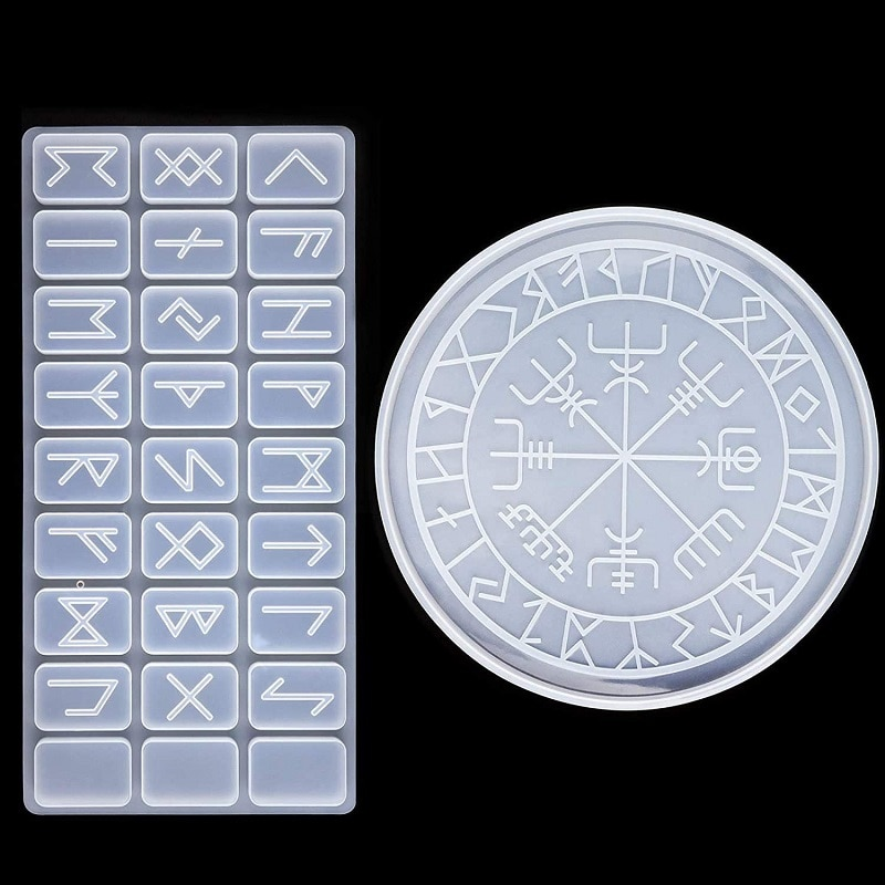 2PCS/Set Divination Mat Resin Molds Silicone Epoxy Resin Molds Pendant Resin Casting Molds Silicone Molds for Divination Tools
