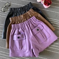 2021 womens autumn high quality sheepskin real leather pockets short pants casual women high rise leather wide leg pants c160