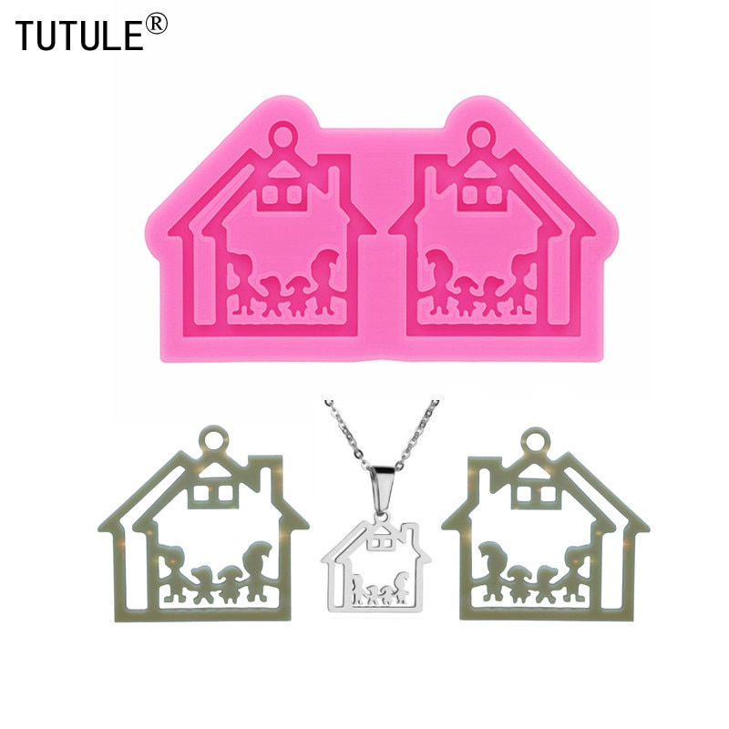Shiny Glossy House one family silicone mold   Keychain,Epoxy Resin Mold,Polymer Clay Mold,Charms Jewelry earring Mold