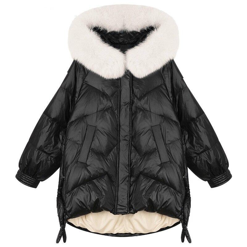 Большой Зимний пуховик с капюшоном из натурального Лисьего меха, Женская Глянцевая парка, уличная одежда, женское плотное теплое пальто на ...