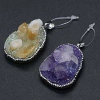 natural druzy agates pendant irregular shaped resin with diamon studded pendants diy necklace for making jewelry 35x50 45x55mm