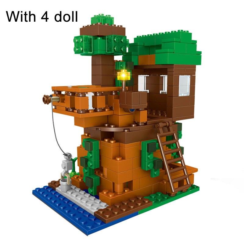 312 pçs tijolos casa da árvore conjunto minecrafting modelo blocos de construção menino presente aniversário crianças brinquedos para crianças