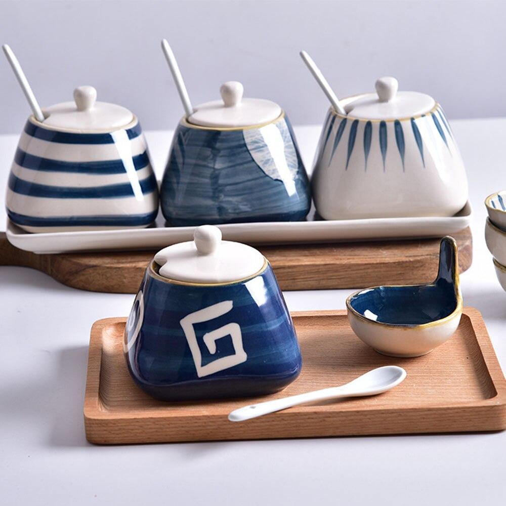 Kitchen Ceramic Seasoning Jar with Lid Spoon Japanese Style Hand Painted Storage Jars Flavoring Cans for Sugar MSG Salt Vinegar