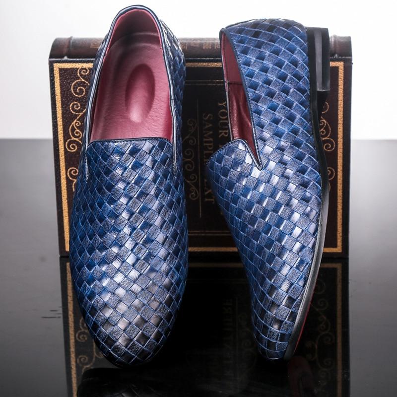Deslizamento em Tendências Sapatos de Lazer Designer Britânico Masculino Preto Sapatos Casuais Homem Malha Mocassins Vermelho Tamanho Grande 47 48