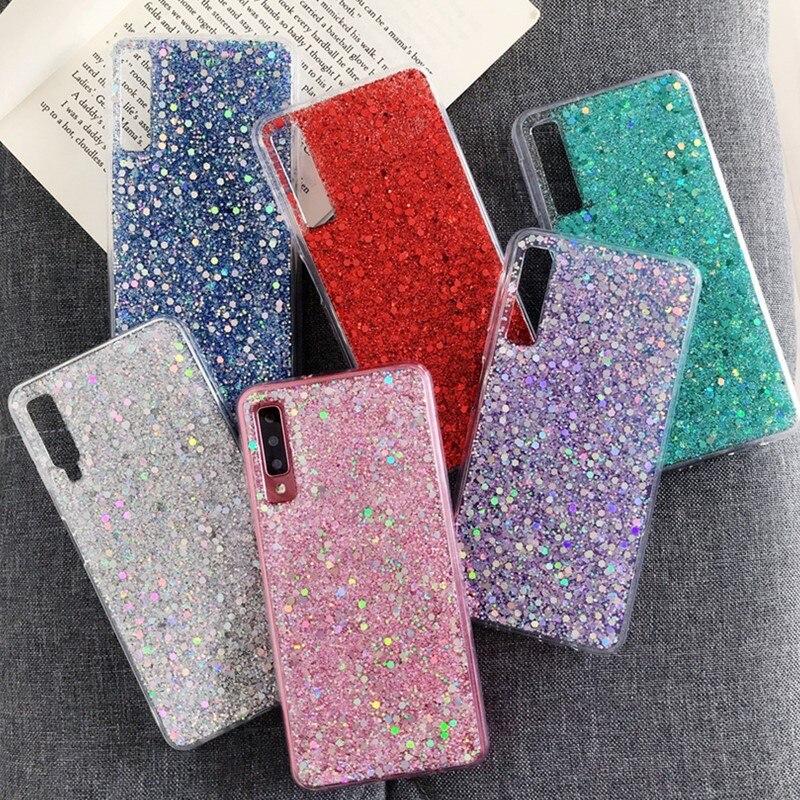Caliente caso para Samsung Galaxy J3 J5 J7 primer A3 A5 A7 2017 J4 J6 A6 A8 más A9 2018 silicona cristal brillante lentejuelas cubierta del teléfono