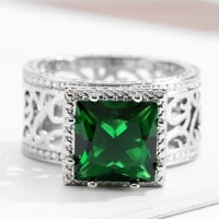 vintage emerald green crystal stone ring for women sterling silver stainless steel ring memorial party jewelry mother%e2%80%99s day gift