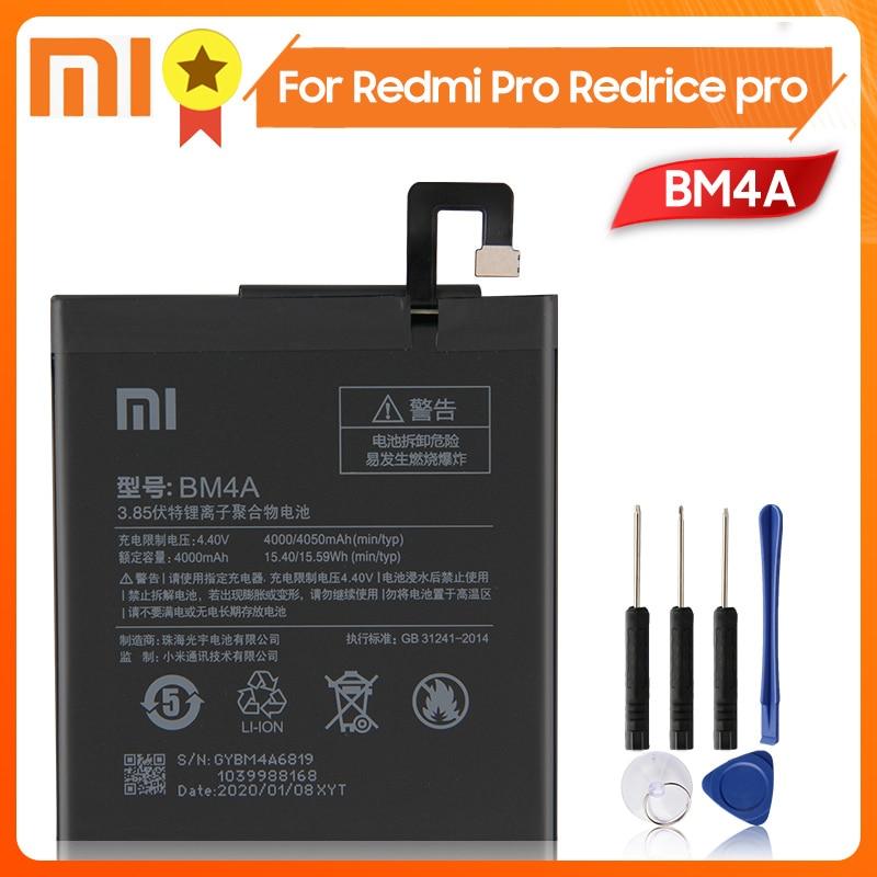 Xiao Mi Xiaomi Mi BM4A Phone Battery For Xiao mi Redmi Pro Redrice pro BM4A 4050mAh Original Replacement Battery + Tool недорого