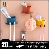 UNTIOR     distributeur de dentifrice porte-brosse a dents en plastique  etagere de rangement  rasoir  brosse a dents  organisateur de salle de bain  ensemble daccessoires  outils
