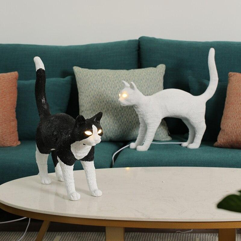 Seletti-مصباح بجانب السرير على شكل حيوان ، مصباح قطة ، لغرفة النوم ، الدراسة ، تركيبات الطاولة ، الديكور الفني