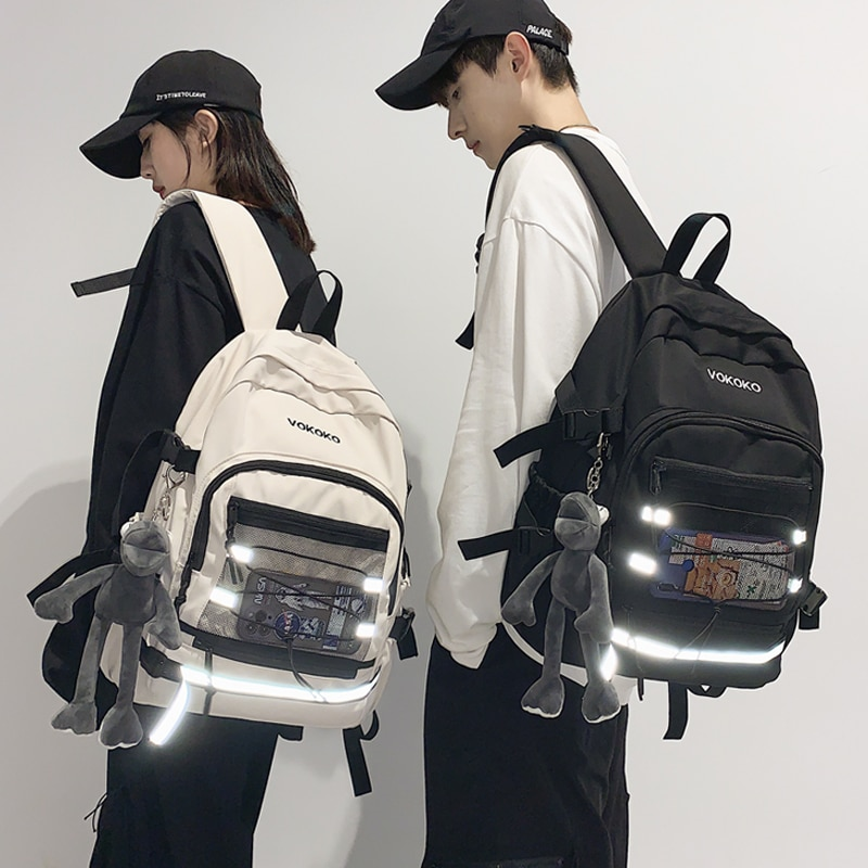 المد المرأة الظهر الإناث على ظهره محفظة للنساء للماء الكورية المتناثرة كبيرة قدرة المدرسة أكياس Ins كلية الكتب