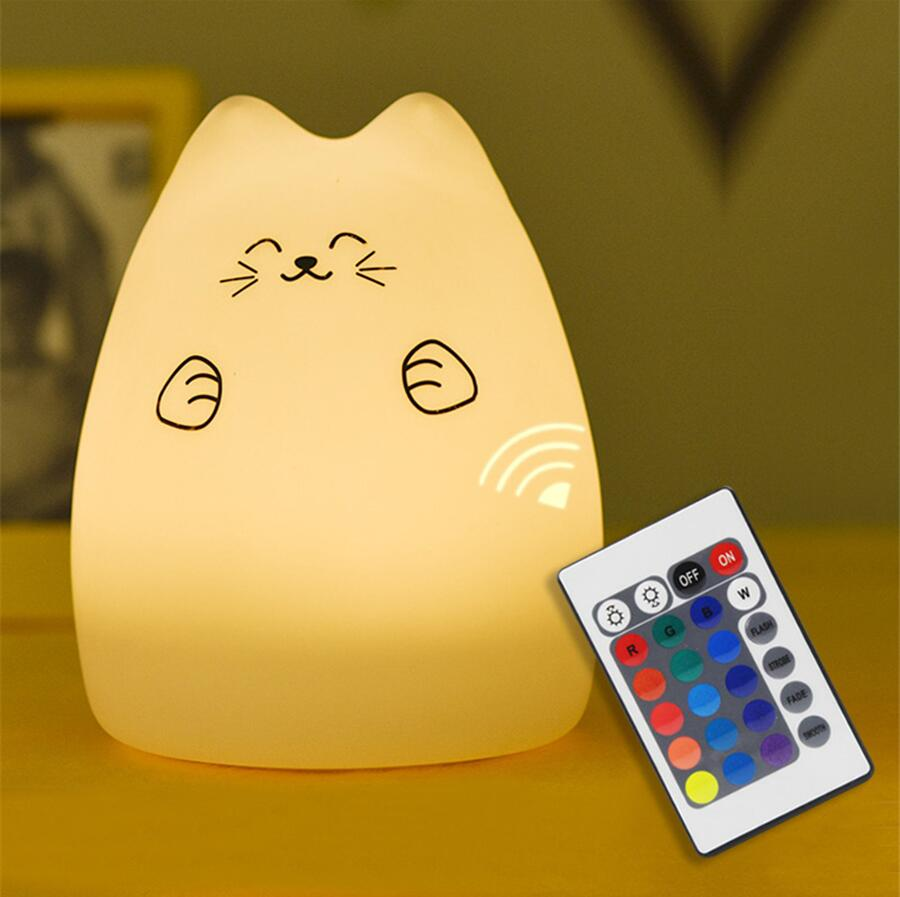 USB Touch Remote control Animal Cat LED Night Light Kids Bedroom Home Modern Indoor Study Bedside Decoration Creative Gift Lamp