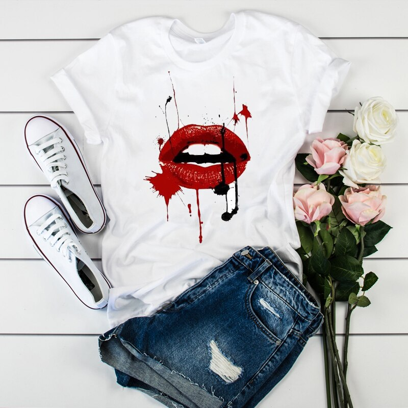 Women Lip 3D Paint Printed Casual Cute Fashion Short Sleeve Tees Tops Graphic Female Ladies Womens Lady T-Shirt T Shirt T-shirts