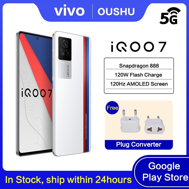 Новинка, оригинальный мобильный телефон iQOO 7 5G, Snapdragon 888, 120 Вт, зарядка для приборной панели, 6,62 дюйма, AMOLED, 120 Гц, частота обновления, NFC, сотовы...