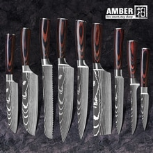 "AMBER 8""inch japanese kitchen knives Laser Damascus pattern chef knife Sharp Santoku Cleaver Slicing Utility Knives tool EDC"