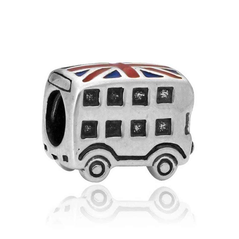 Alloy Bead Mixed Enamel London Bus Charm fit Lady Bracelet Bangle For Women DIY Jewelry Making