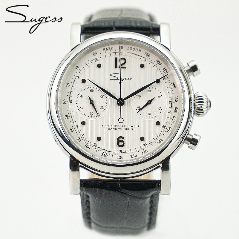 Sugess Chronograph Seagull Movement st1901 Mechanical Watch For Men Vintage 40mm Sapphire Pilot 1963