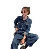2021 spring new small fashion loose denim jumpsuit