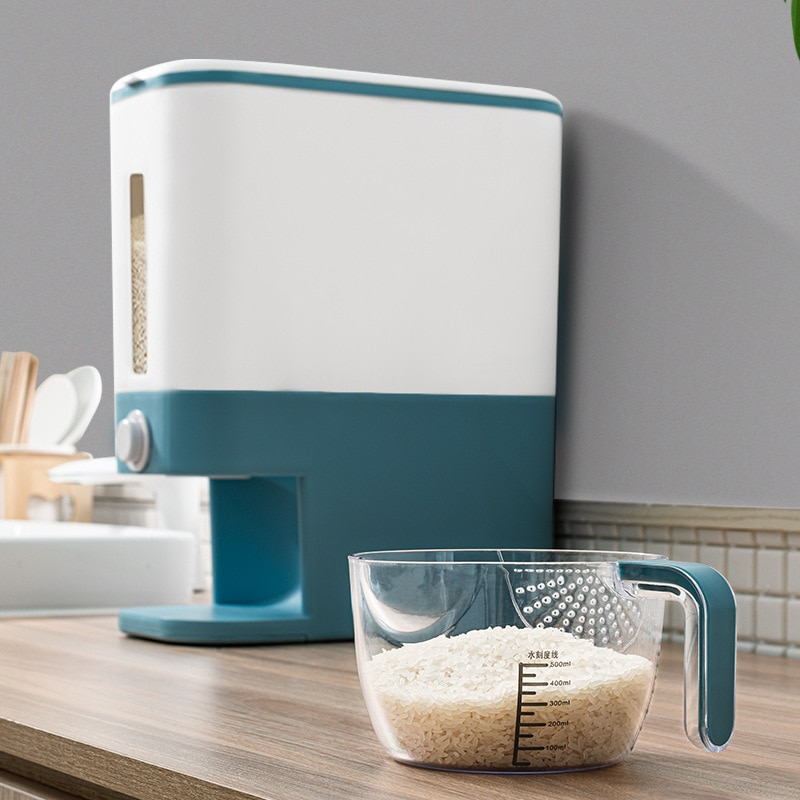 Caja de almacenamiento automática de plástico para dispensador de cereales, taza medidora, depósito de comida de cocina, contenedor de arroz, organizador, latas de almacenamiento de granos