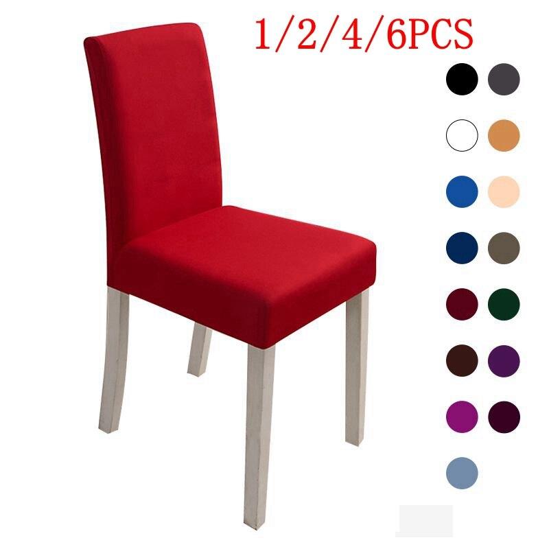 1/2/4/6 uds funda de LICRA para silla elástica fundas de silla de Color sólido blanco para Comedor Cocina banquete de boda