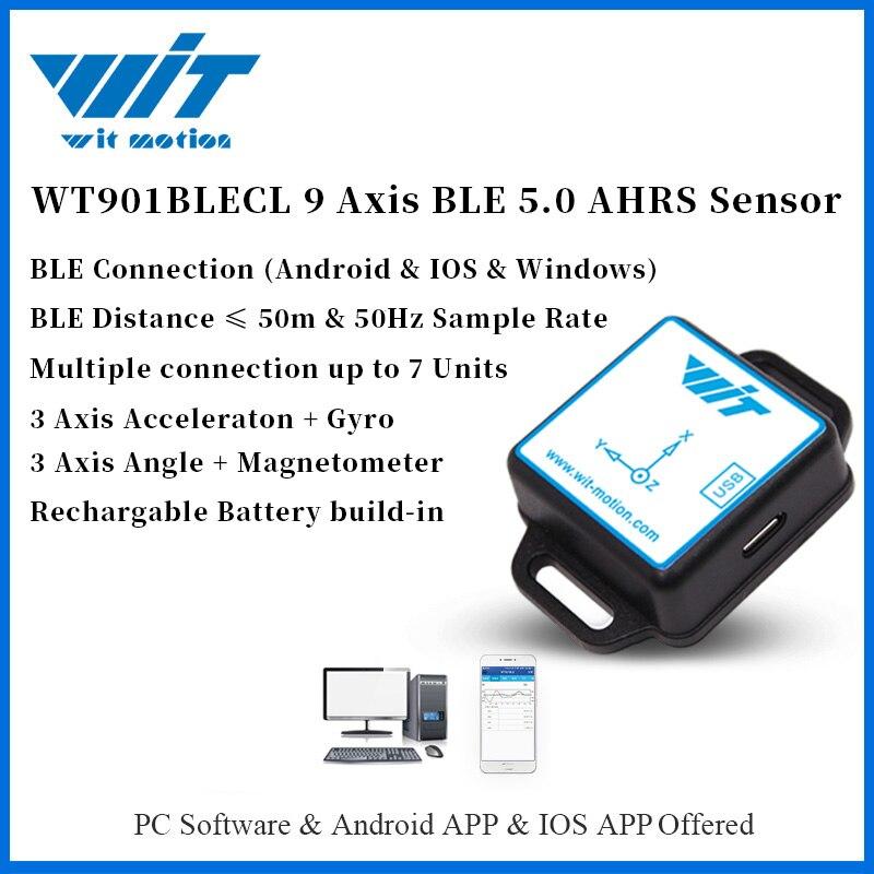 WitMotion-مستشعر 9 محاور WT901BLECL ، استهلاك منخفض ، اتصال Bluetooth 5.0 ، زاوية التسارع ، Gyro Mag MPU9250 ، على الكمبيوتر/Android