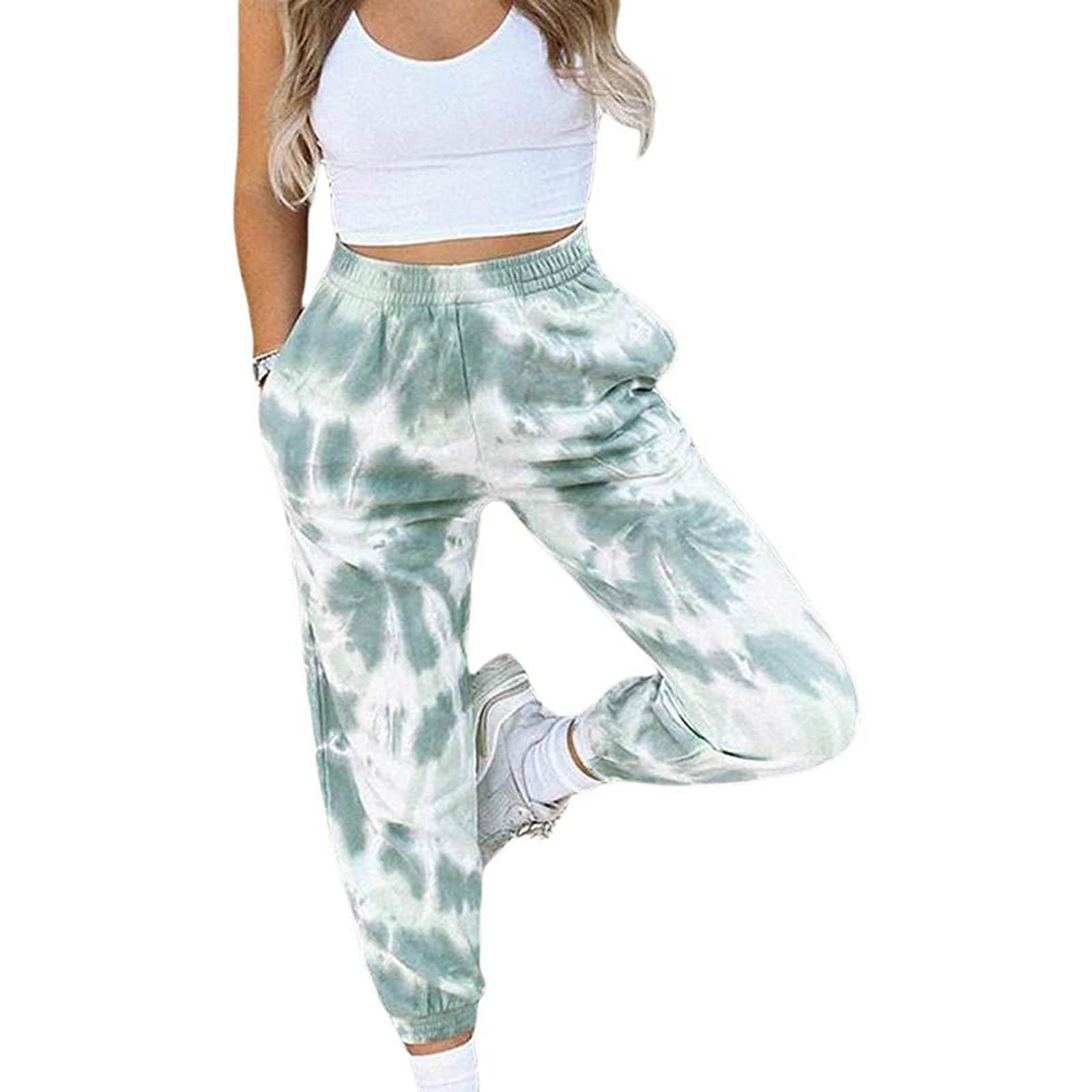 Fashion Tie Dye Sweatpants Women's High Waisted Sweatpants Joggers Trousers Pants Workout Sportswear